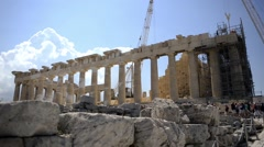 Acropolis and Parthenon on the hilltop in Athens, Greece. - stock footage