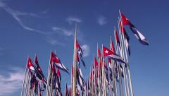 Cuba, La Habana, Havana, cuban flags near United States embassy Stock Footage