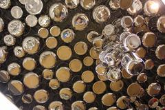 Set of chrome plated aluminum cookware Stock Photos