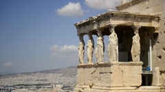 Erechtheion and caryatid, Athens, Greece Stock Footage