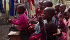MAASAI CHILDREN AFRICAN TRIBAL CULTURE - stock footage