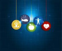 healthy living round symbols - stock illustration