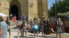 Street Performers - Farmers Market - Bergerac France Stock Footage