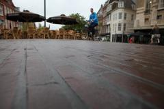Close up shot of pavers in city of Leiden Stock Photos