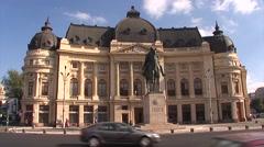 Bucharest-Carol I statue - Victoriei Bulevard Stock Footage