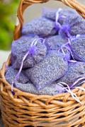 Dried lavender sachets basket Stock Photos