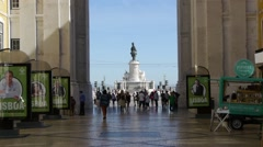 Street towards Praça do Comércio in Lisbon Stock Footage