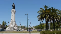 Traffic circle in Lisbon Stock Footage