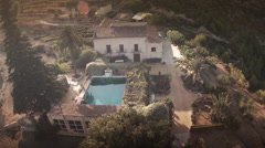 Aerial  view of a typical Spanish country house. Alcoi, Spain. - stock footage
