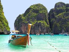 Longtail Boat in Maya Bay, Ko Phi Phi, Thailand Stock Photos