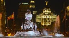 Cibeles Fountain on Plaza de Cibeles in Madrid, Spain Stock Footage