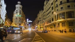 Crossing of Alcala and Gran Via street in Madrid, Spain Stock Footage