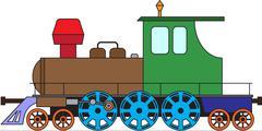 Locomotive on white - color vector Stock Illustration