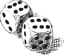Rough monochrome sketch - two dices Stock Illustration