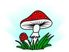 Stock Illustration of amanita in grass - simple illustration