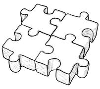 shaped vector drawing - puzzle - stock illustration
