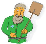 Vector art - janitor with big shovel Stock Illustration