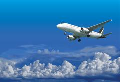 Airliner is landing on cloudy sky background - vector Stock Illustration