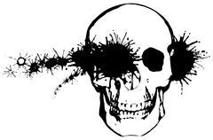 Monochrome grunge illustration - a bullet through a human skull Stock Illustration