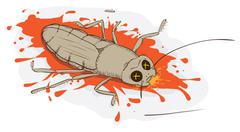 squashed cockroach - stock illustration