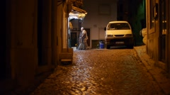 Night cleaning in Portugal Stock Footage
