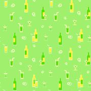 Wrapping paper. theme of beverages. retro vector illustration. Stock Illustration