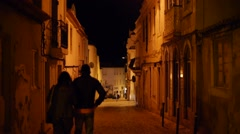 Couple in Portugal at night Stock Footage