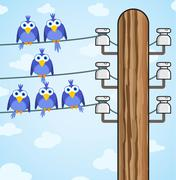 Bird sitting on a high-voltage wires - vector Stock Illustration