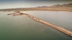 Aerial view of salt flats and sea at Cabo de Gata. Spain. Stock Footage