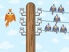 sitting birds symbolize wireless technology - stock illustration
