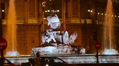 Cibeles Fountain on Plaza de Cibeles in Madrid, Spain Stock Footage