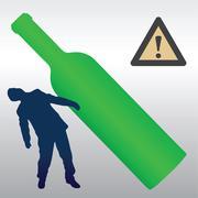 alcohol detrimental effect - stock illustration