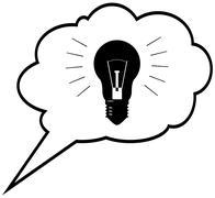 Genius idea - lightbulb in speech bubble cloud. vector illustration Stock Illustration