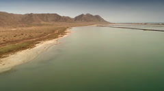 Aerial view of the coastline at Cabo de Gata. Spain. Stock Footage