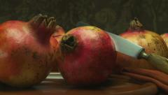 Still life pomegranates-slider shot Stock Footage