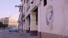 Cuba, La Habana, Havana, Che Guevara painting, graffiti on wall - stock footage