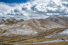 astonishing tibetan cloudy sky and high altitude snowy mountains  near the no - stock photo