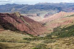 Red-colored tibetan geological structures near lajiaxiang city at qinghai pro Stock Photos