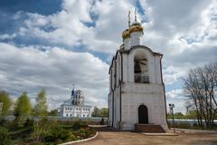close view of the belfry at saint nicholas (nikolsky) monastery, pereslavl-za - stock photo
