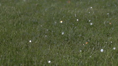 Watering grass closeup slow motion Stock Footage
