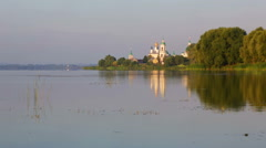 View of the Monastery of St. Jacob Saviour and Nero lake - stock footage