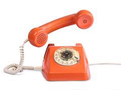 vintage telephone answer handset - stock photo