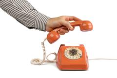 Vintage telephone answer handset Stock Photos