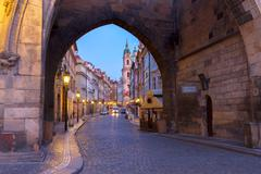 Entrance to Hradcany old town at night, Prague Stock Photos