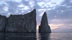 Sunrise at the Kicker Rock, San Cristobal, Galapagos Islands, Ecuador - stock footage