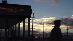 train depot, silver lining clouds - stock footage