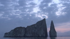 Stock Video Footage of Sunrise at the Kicker Rock, San Cristobal, Galapagos Islands, Ecuador