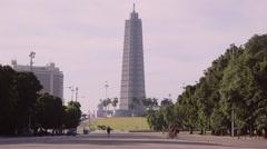 Cuba, Havana, Plaza de la Revolucion, square, cars, people Stock Footage