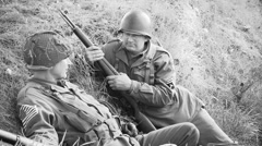 American WO2 Soldiers in tranch Stock Footage