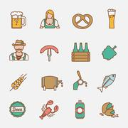 Beer icons set flat line - stock illustration
